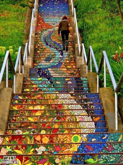 art design mosaic pretty colors stairs - 6329404928