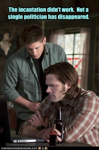 dean winchester didnt work incantation Jared Padalecki jensen ackles politicians sam winchester Supernatural - 6329406976