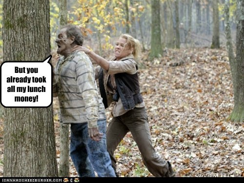 beating up bullying head lunch money mean tree The Walking Dead zombie - 6329560576