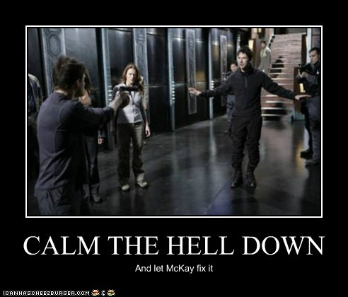 calm down fix guns joe flanigan john sheppard rodney mckay Stargate under control