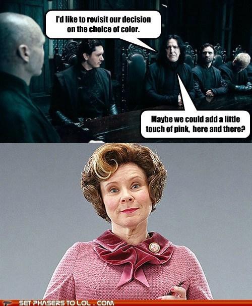 Alan Rickman,dolores umbridge,evil,Harry Potter,imelda staunton,pink,professor snape,ralph fiennes,voldemort