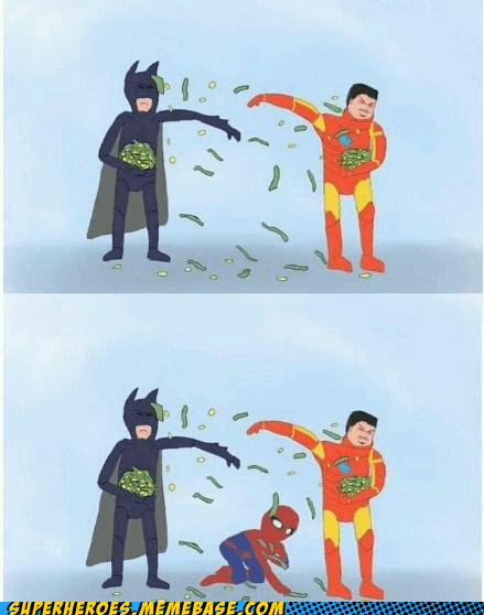 Awesome Art,batman,ironman,money,peter parker,Spider-Man,superheroes