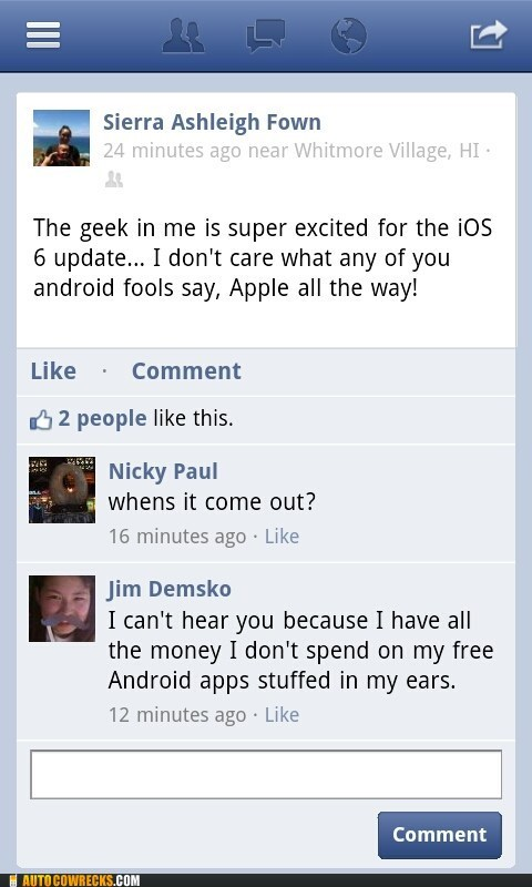android,apple products,free apps,ios 6,pretension