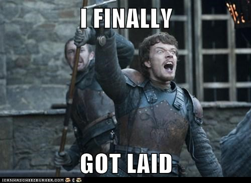 alfie allen celebrate dagmer cleftjaw finally Game of Thrones get laid theon greyjoy