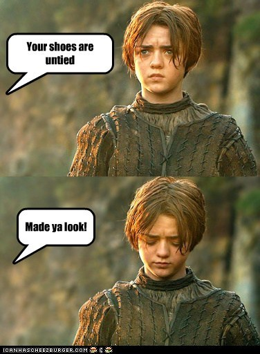 a song of ice and fire,arya stark,Game of Thrones,joke,made you look,Maisie Williams,shoes