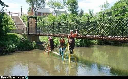 bridge,bridge fix,bridge repair,frederick,Hall of Fame,ladder,Maryland,public works,river,step ladder