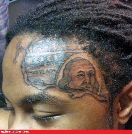 face tattoos,forehead tattoos,money tattoo