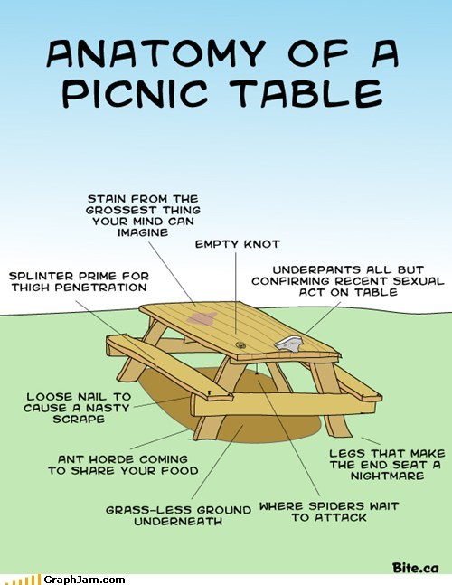 anatomy eating food gross picnic table