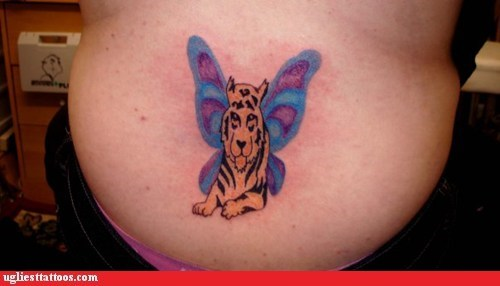 butterfly,tiger,tramp stamp
