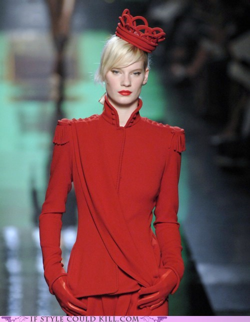 cool accessories crown jean-paul gaultier red runway - 6331869184