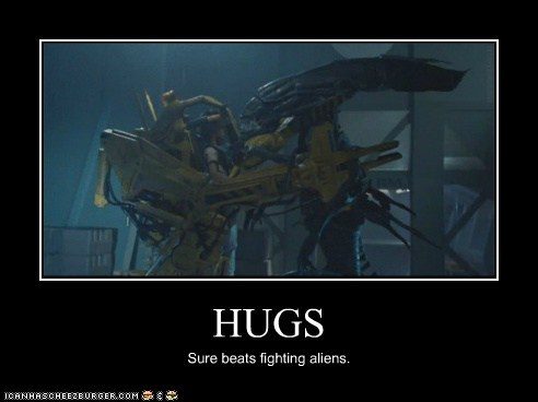 alien,Aliens,better,fight,fighting,hugs,james cameron,queen