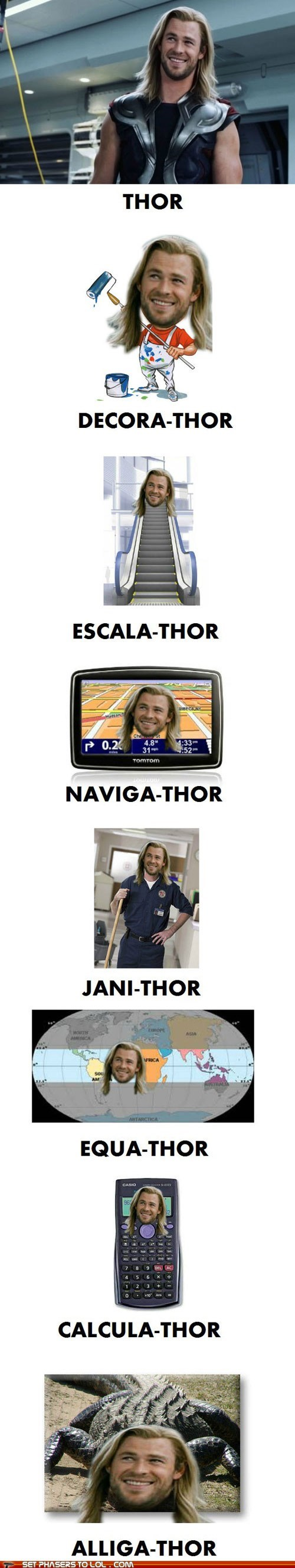 chris hemsworth,jobs,name,puns,superheroes,Thor