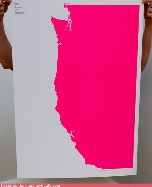 map,pink,print,usa,west coast