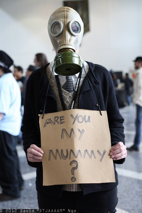 are you my mummy,cosplay,doctor who,gas mask,scifi