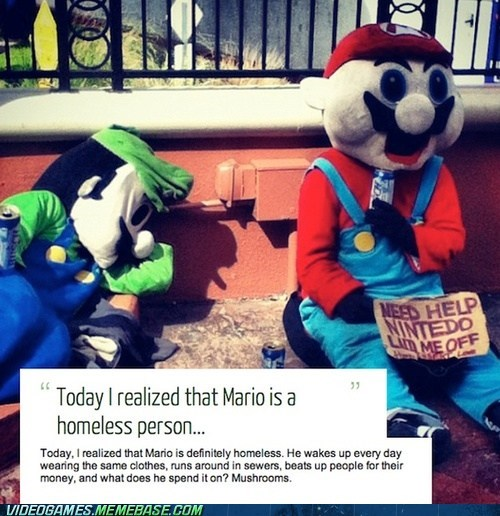 homeless mario nintendo Sad
