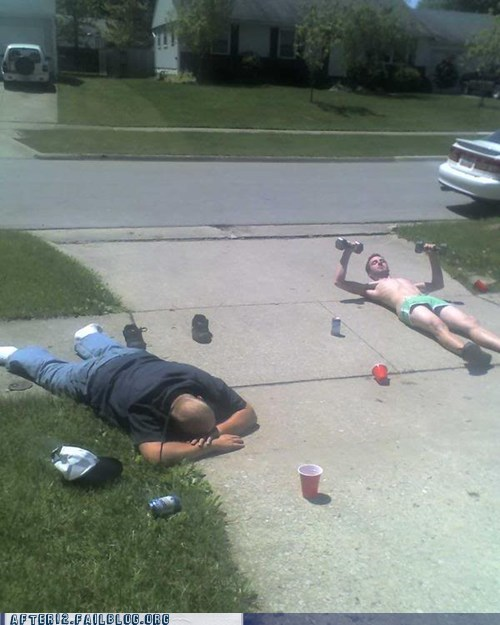 driveway,passed out,summer,summertime