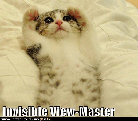 captions,Cats,childhood,invisible,lolcats,play,toy,view master,viewmaster