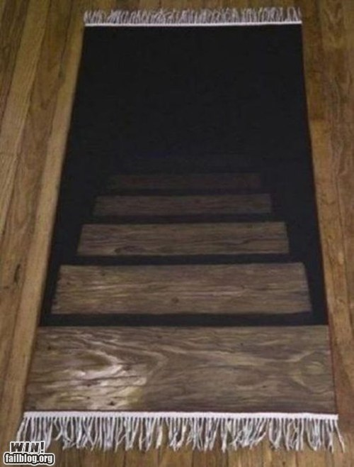 clever design g rated Hall of Fame illusion rug stairs win - 6333066752