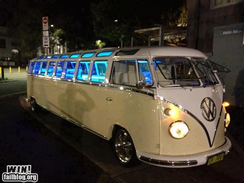 car,design,driving,g rated,Hall of Fame,hippie,limousine,van,volkswagen,volkswagen bus,win