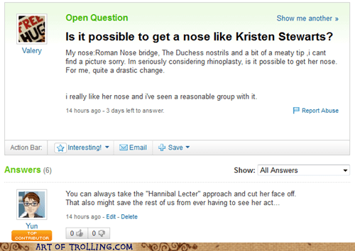 hannibal lecter,kristen stewart,nose job,Yahoo Answer Fai,Yahoo Answer Fails