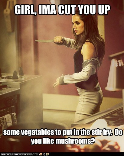 dollhouse,echo,eliza dushku,Joss Whedon,meme,misunderstood,Mushrooms,repecca mynor,stir fry,vegetables