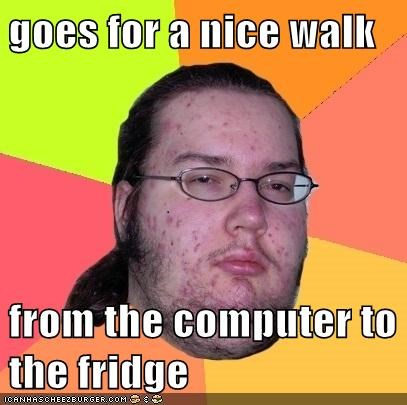 goes for a nice walk from the computer to the fridge