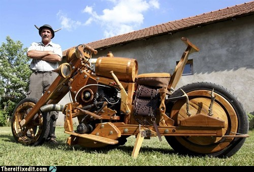g rated,Hall of Fame,horned helmet,hungarian wooden motorcyc,hungary,istvan puskas,motorcycle,there I fixed it,tiszaors,wooden motorcycle