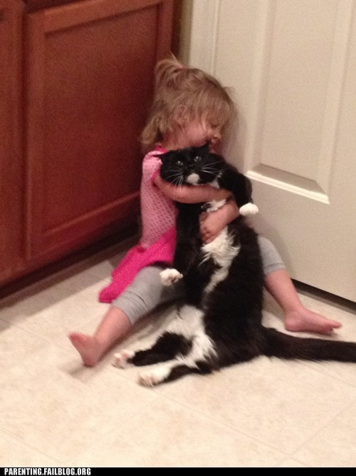 cat fell asleep g rated girl Hall of Fame hug Parenting FAILS