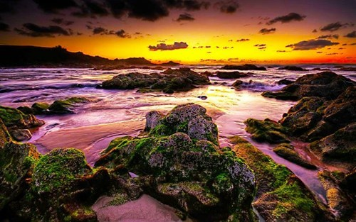 beach,ocean,rocks,sunset