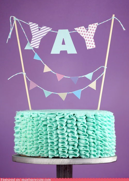 banner cake epicute frosting ruffles yay - 6335432448