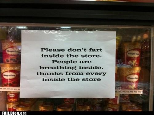 fart freezer ice cream sign