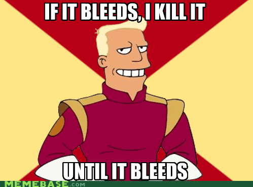 bleeds,Death,fry,futurama,zapp brannigan