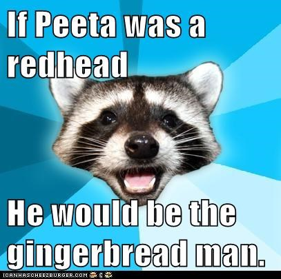 bakers bread gingerbread jokes Lame Pun Coon peeta puns raccoons hunger games - 6335739904