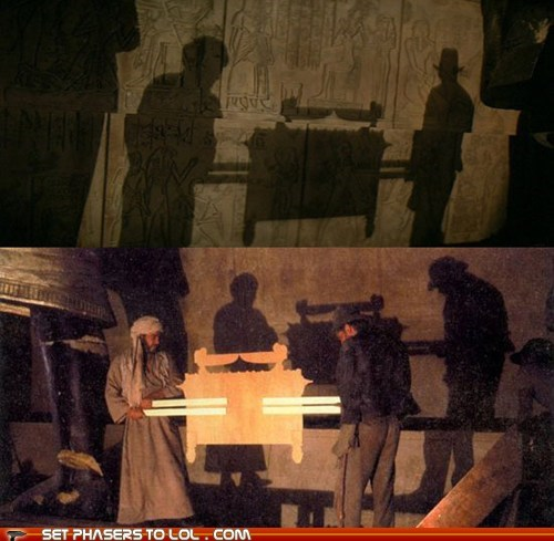 ark of the covenant behind the scenes flat Harrison Ford Indiana Jones prop shadow