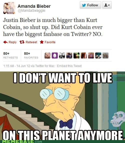 fanbase i dont want to i dont want to live on this planet anymore justin bieber kurt cobain Music twitter - 6335812352