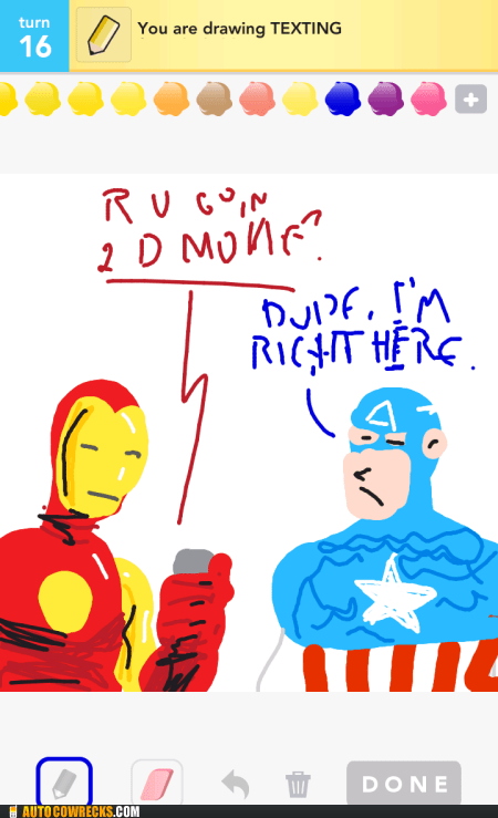 captain america draw something ironman texting The Avengers - 6335857920