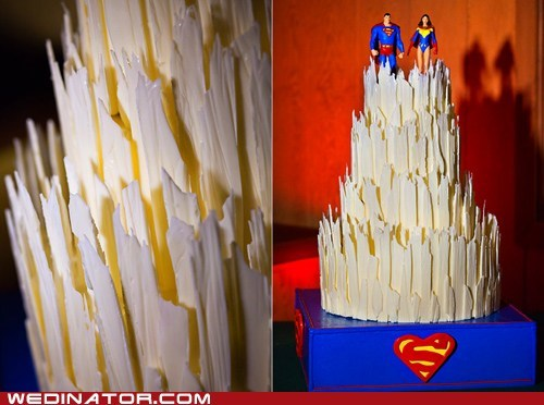 cakes,comics,funny wedding photos,superman,wonder woman