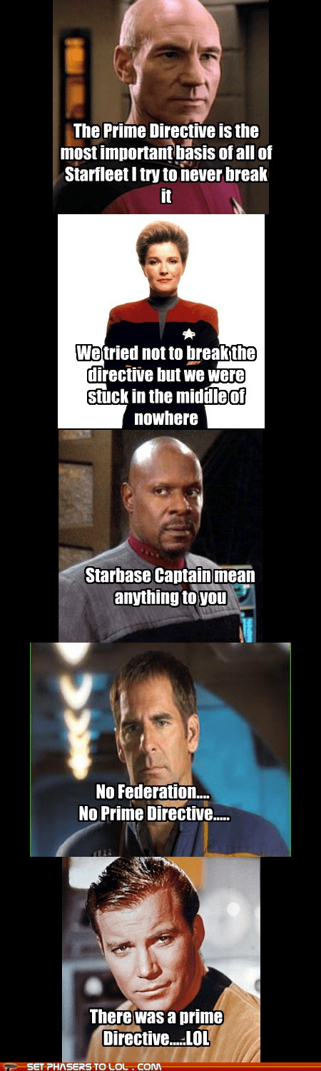 avery brooks,captain archer,captain janeway,Captain Picard,captain sisko,captains,enterprise,kate mulgrew,patrick stewart,prime directive,reactions,scott bakula,Star Trek,TNG,voyager