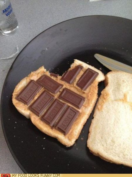chocolate,peanut butter,sandwich,white bread