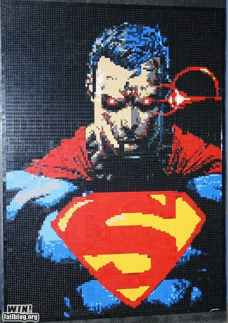 comic books lego mosaic nerdgasm super heroes superman - 6335982080