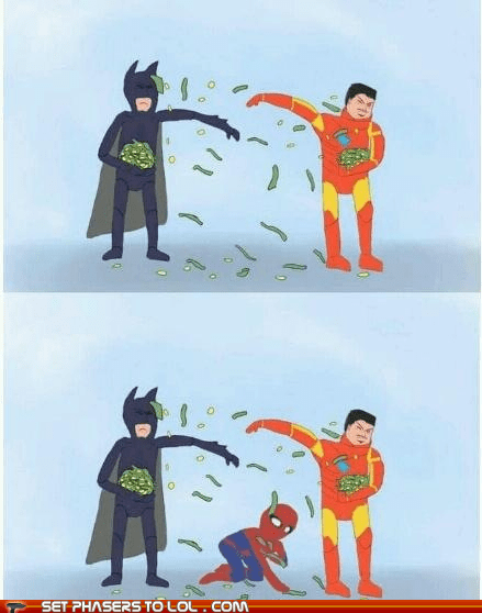 batman best of the week change fight iron man money peter parker picking up poor rich