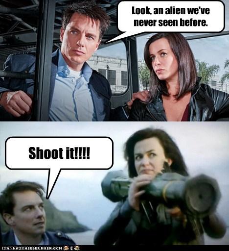 Look, an alien we've never seen before. Shoot it!!!!