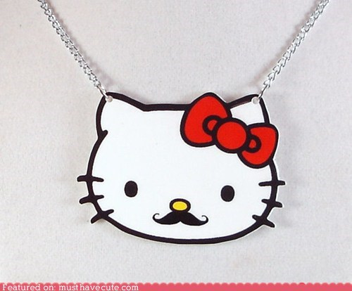 hello kitty,Jewelry,mustache,necklace,pendant