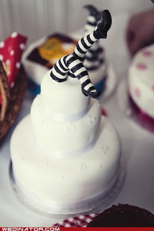 cake funny wedding photos legs stockings tights wedding cake - 6336481792