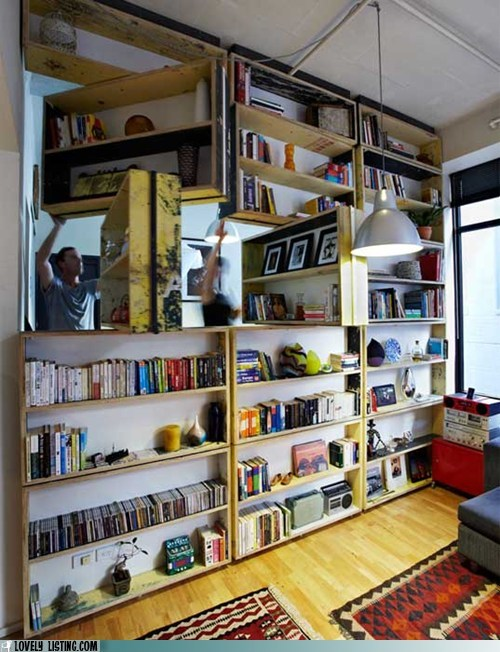 bookcase shelves swivel wall