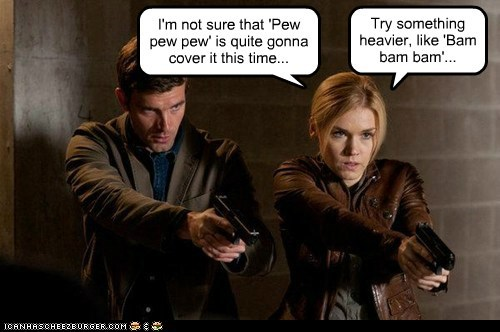 audrey parker,bam bam,emily rose,guns,haven,heavier,lucas bryant,nathan wuornos,pew pew pew,sound effects