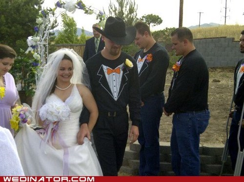 bride cowboy hats funny wedding photos groom tuxedo t-shirt - 6336729600