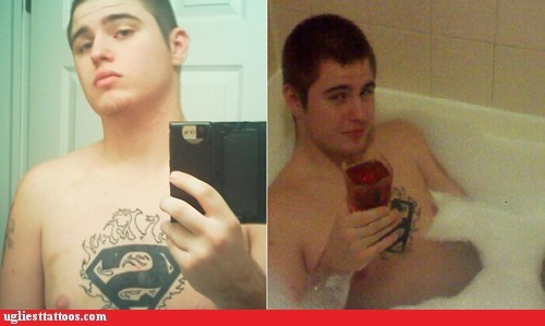 bathtub selfshot superman