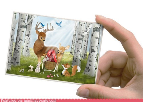 announcement baby card deer woodland creatures