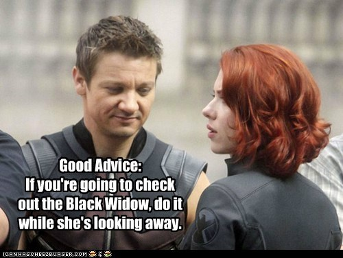 avengers,Black Widow,check her out,good advice,hawkeye,Jeremy renner,leering,look away,scarlett johansson
